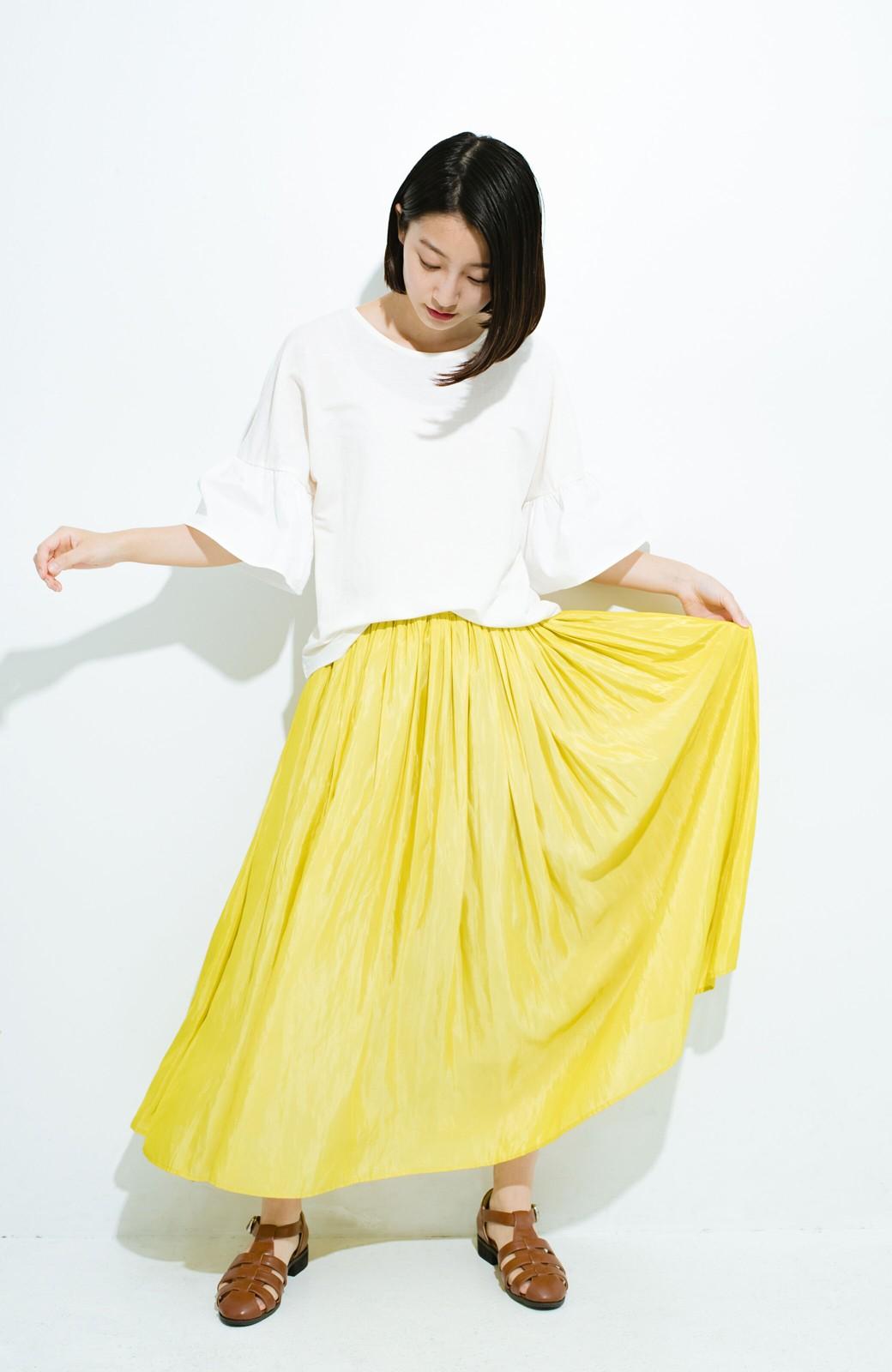 haco! このスカートさえはけば 女っぽくいられるたっぷりギャザースカート by que made me <イエロー>の商品写真9