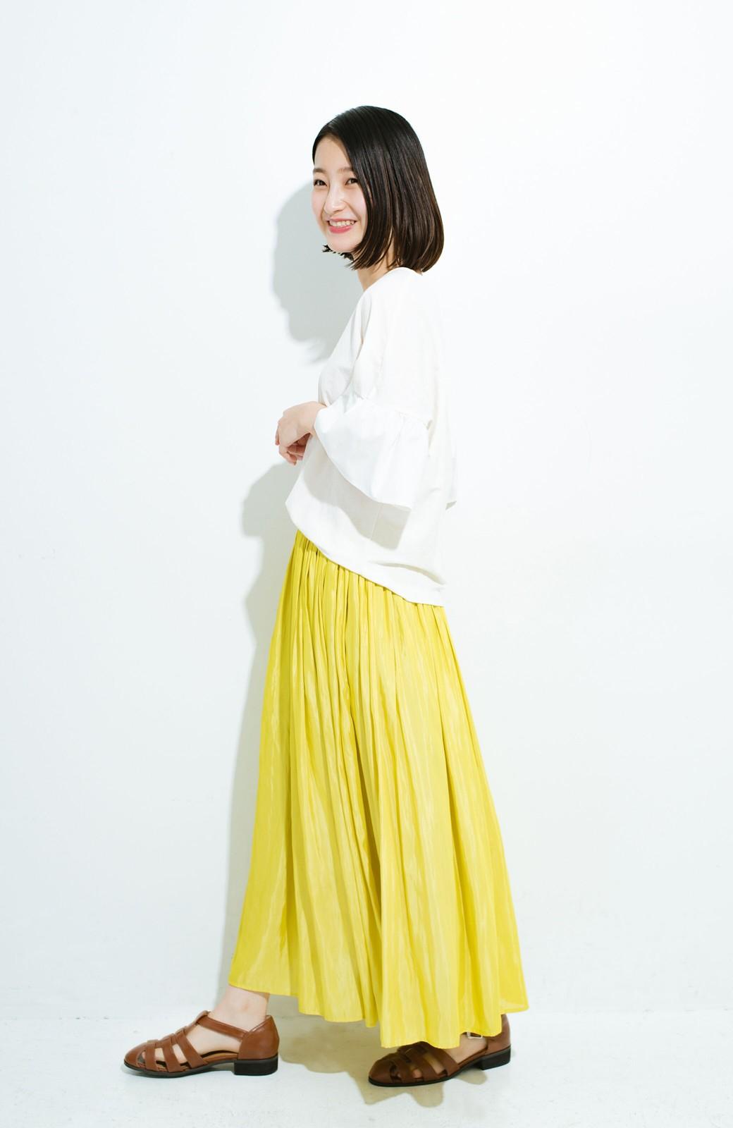 haco! このスカートさえはけば 女っぽくいられるたっぷりギャザースカート by que made me <イエロー>の商品写真11