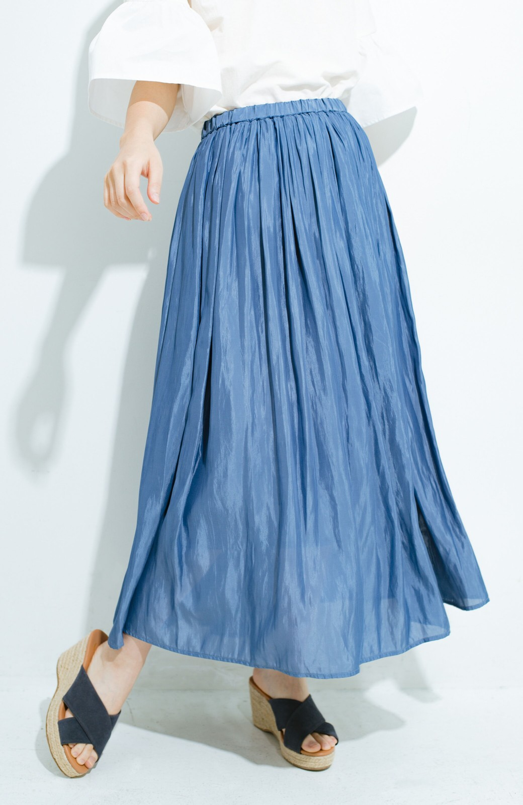 haco! このスカートさえはけば 女っぽくいられるたっぷりギャザースカート by que made me <ブルー>の商品写真1