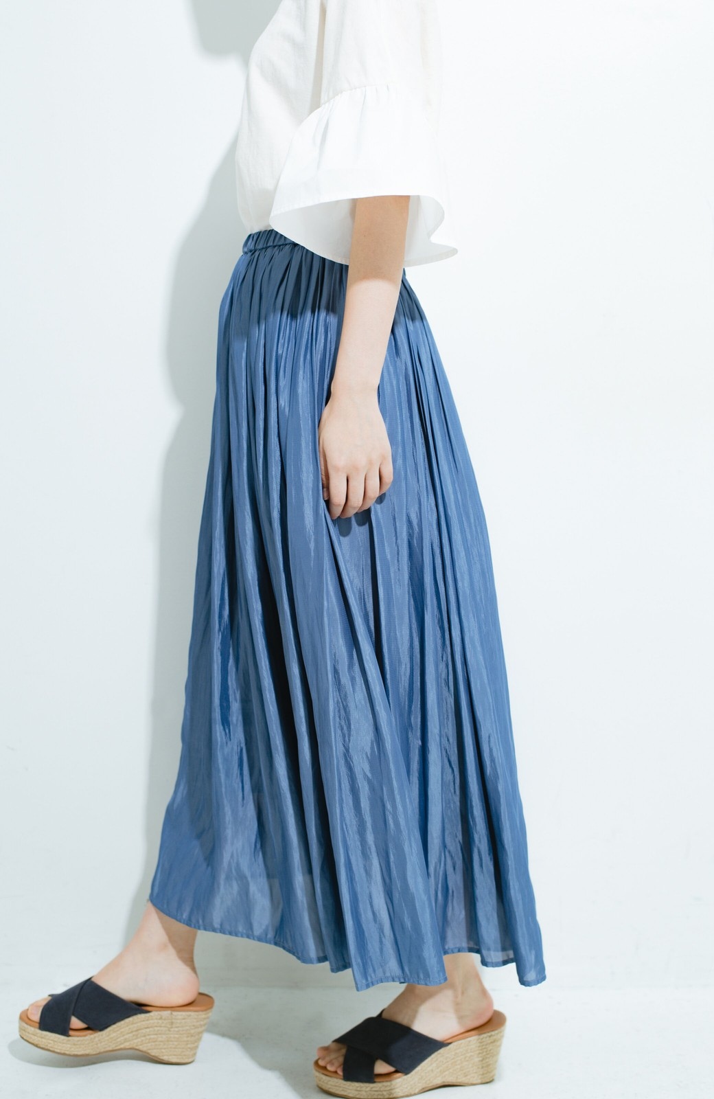 haco! このスカートさえはけば 女っぽくいられるたっぷりギャザースカート by que made me <ブルー>の商品写真5