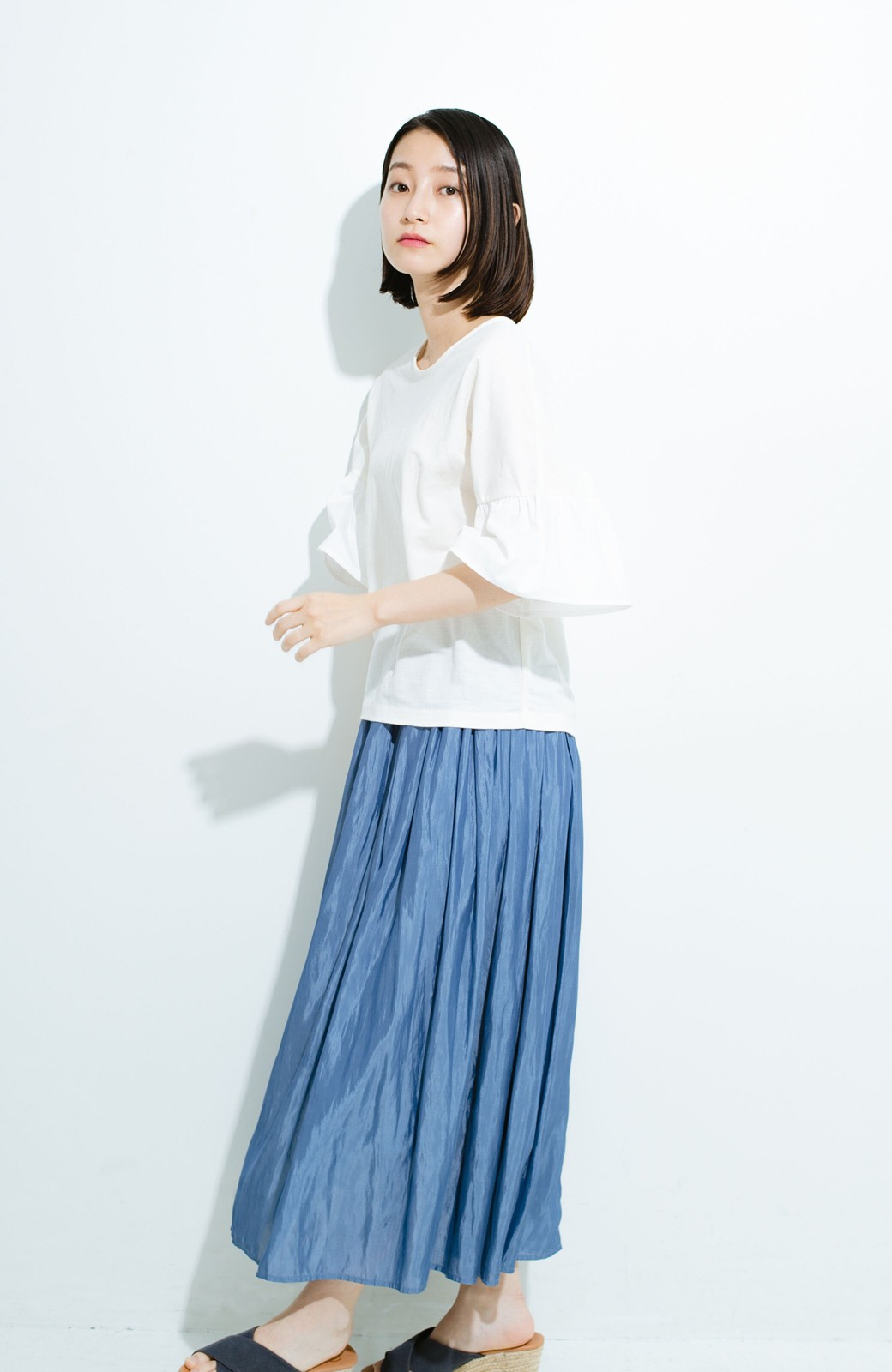 haco! このスカートさえはけば 女っぽくいられるたっぷりギャザースカート by que made me <ブルー>の商品写真15