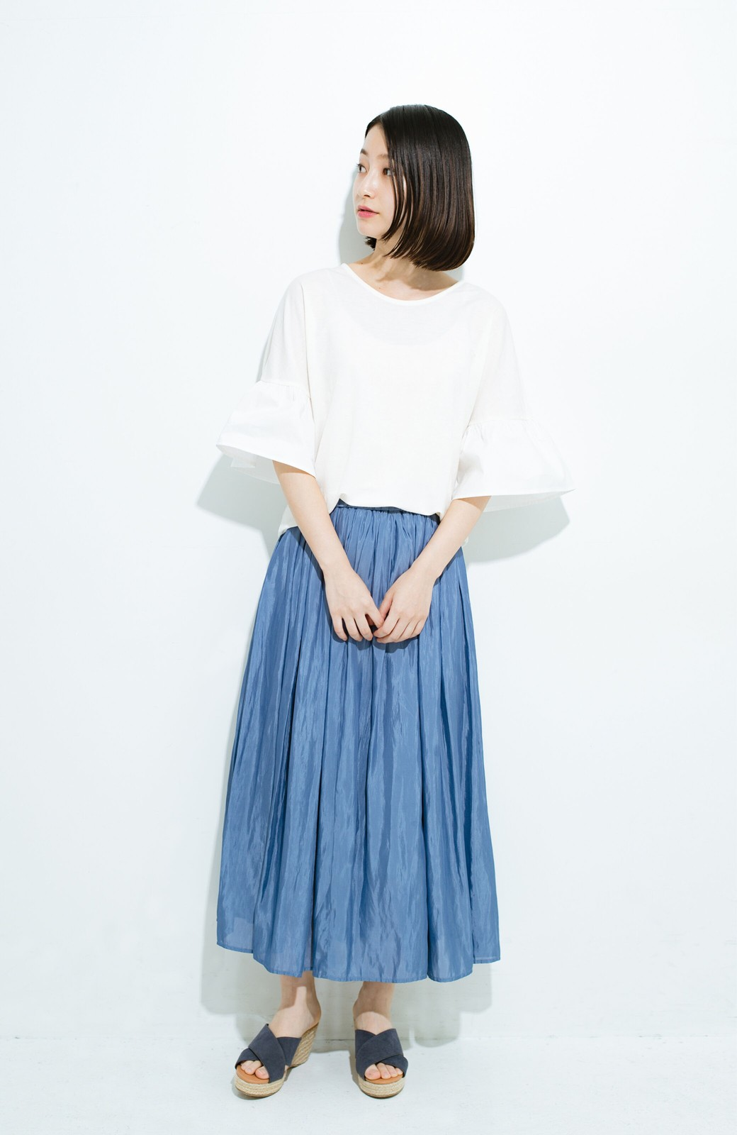 haco! このスカートさえはけば 女っぽくいられるたっぷりギャザースカート by que made me <ブルー>の商品写真7