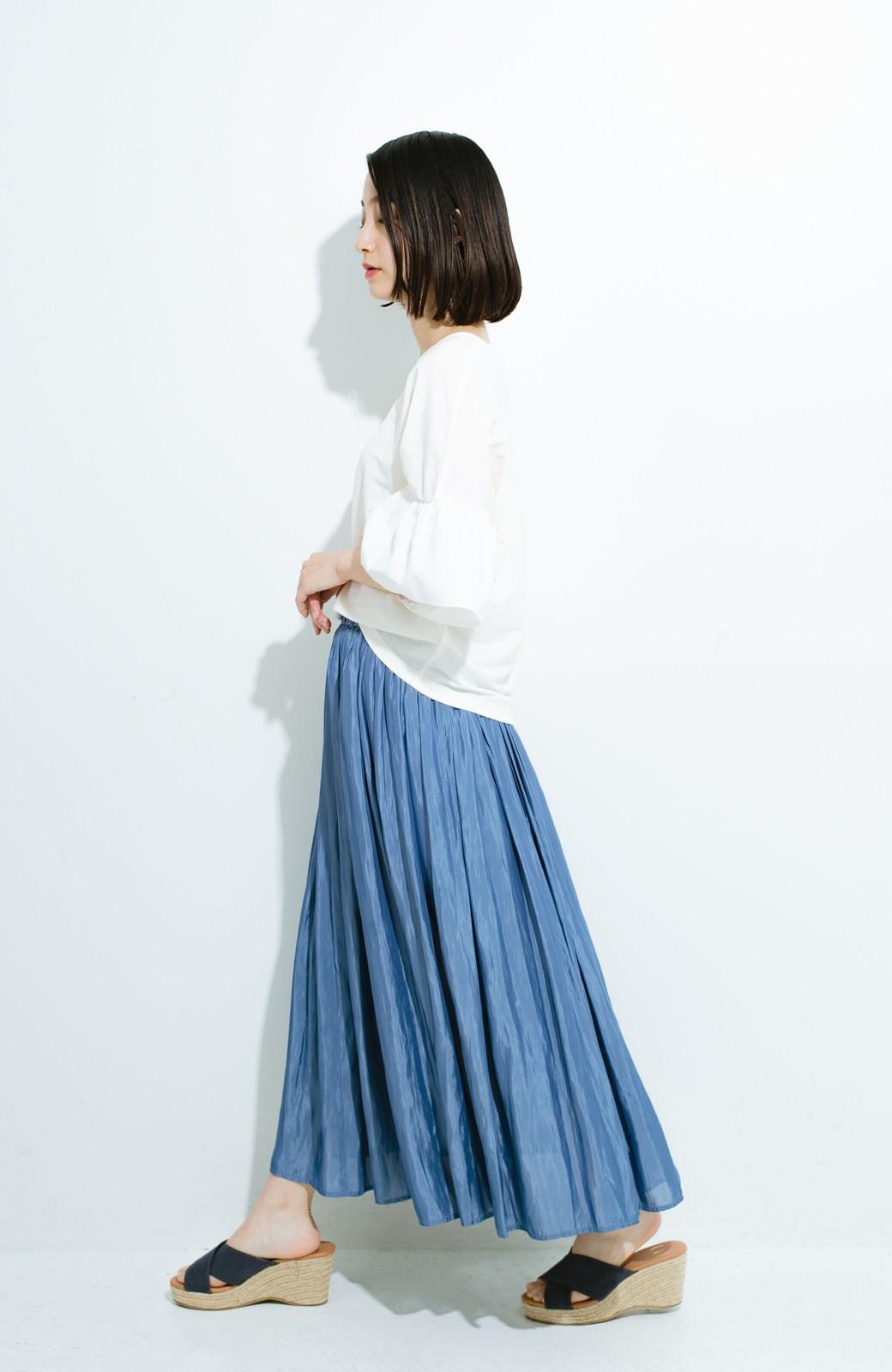 haco! このスカートさえはけば 女っぽくいられるたっぷりギャザースカート by que made me <ブルー>の商品写真10