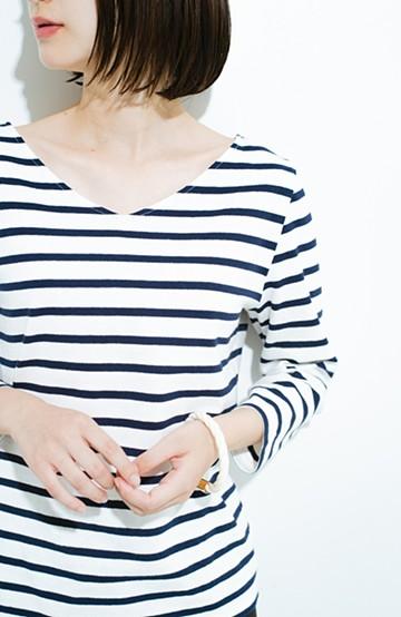 haco! ボーダーはモテないなんて言わせない、こだわりぬいたオトナのボーダートップス by MAKORI <ホワイト×ネイビー>の商品写真