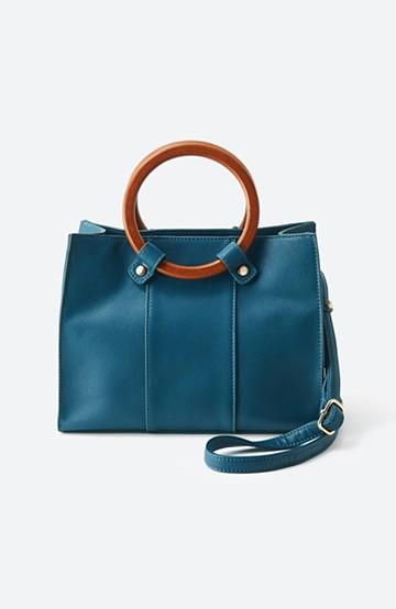 haco! 木の持ち手がかわいいお出かけバッグ <ブルーグリーン>の商品写真
