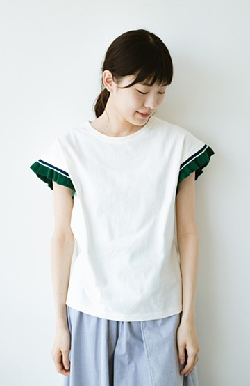 haco! Tシャツよりちょっと華やか気分の配色フリルトップス <ホワイト>の商品写真