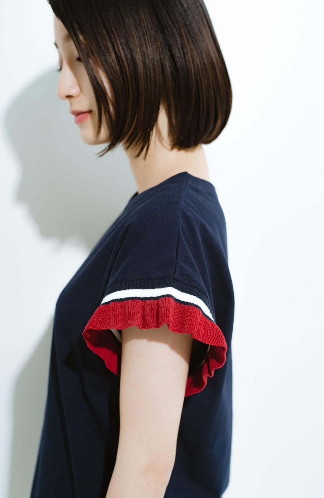 haco! Tシャツよりちょっと華やか気分の配色フリルトップス <ネイビー>の商品写真3