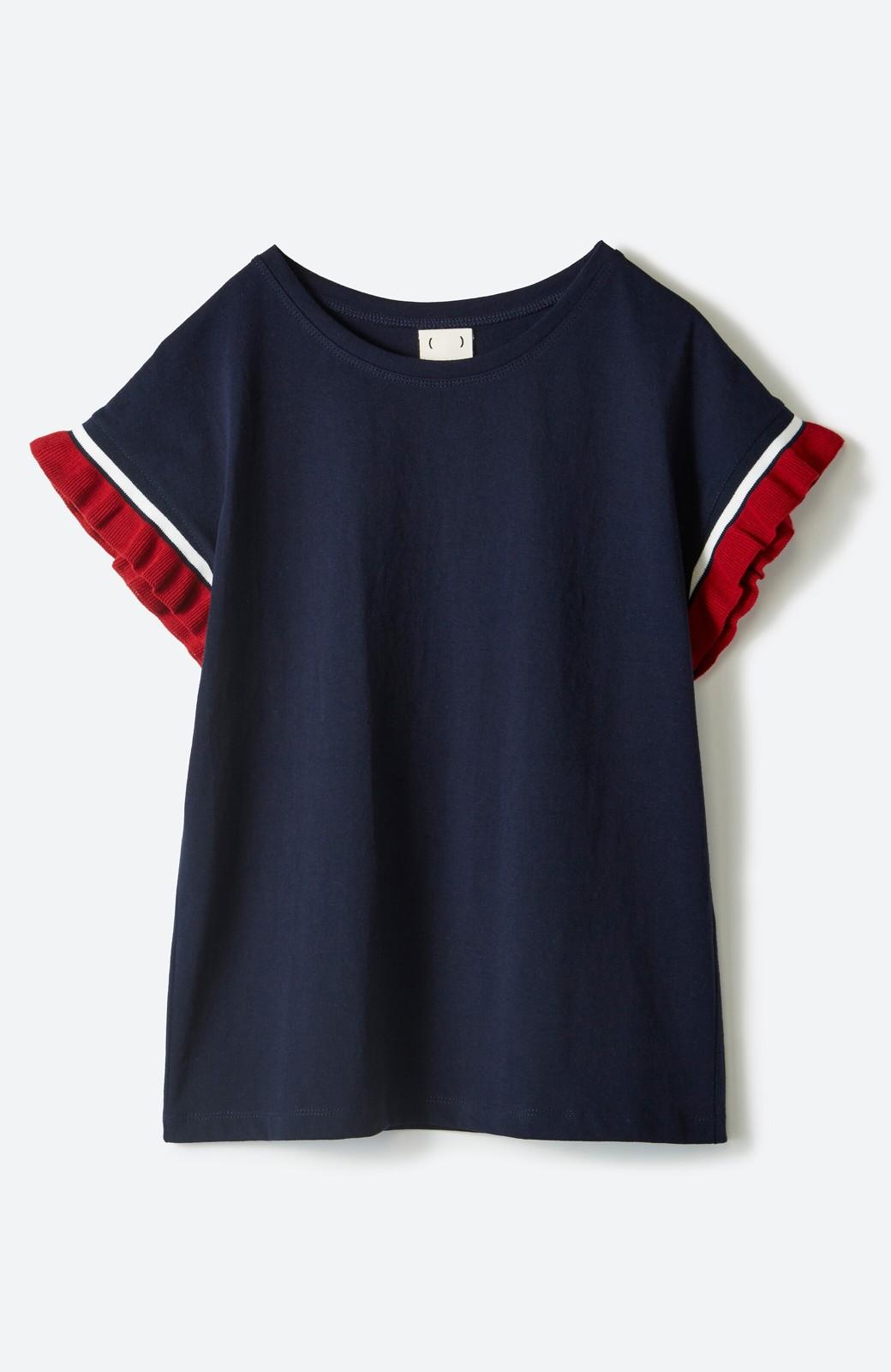 haco! Tシャツよりちょっと華やか気分の配色フリルトップス <ネイビー>の商品写真2