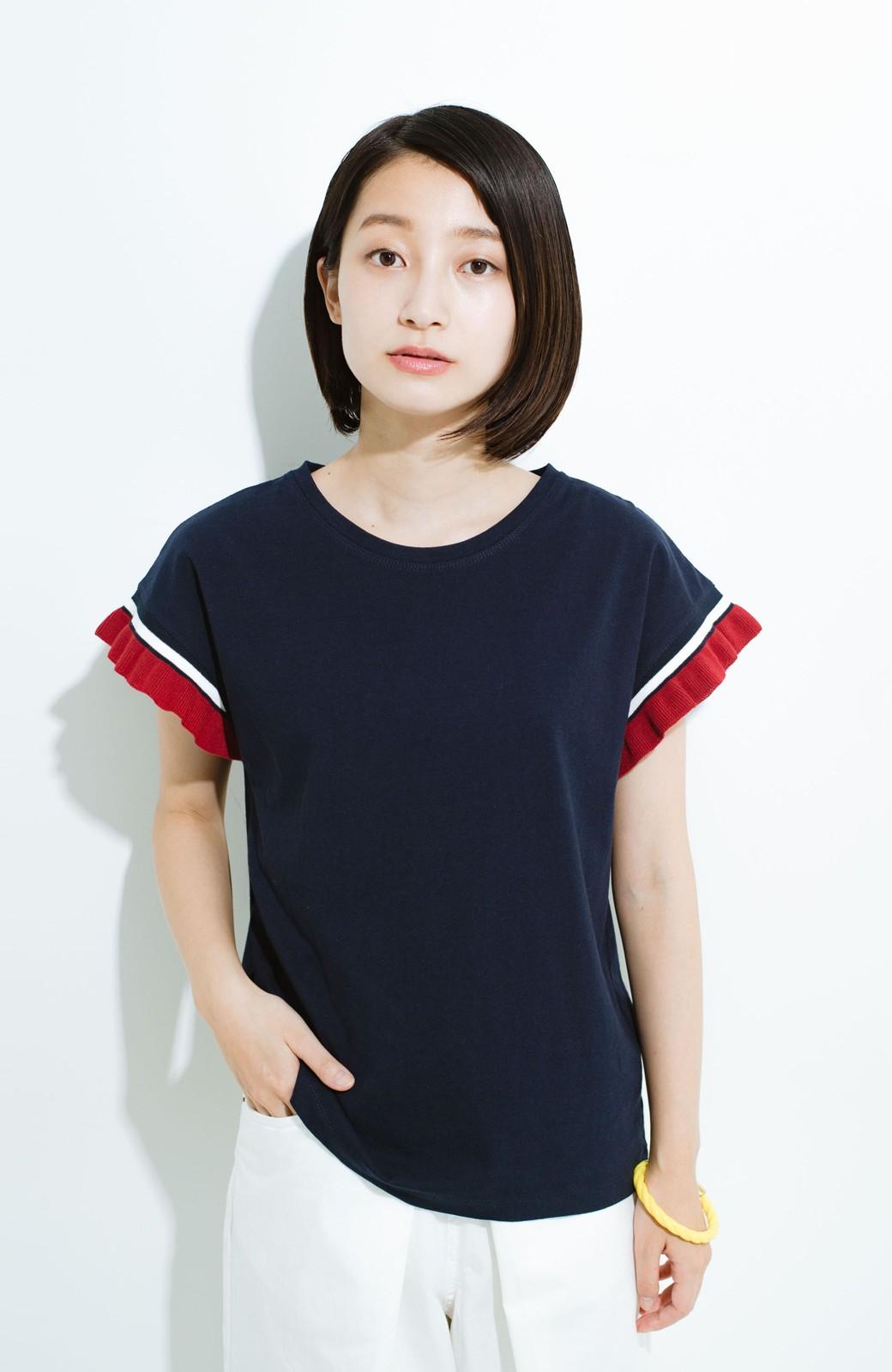 haco! Tシャツよりちょっと華やか気分の配色フリルトップス <ネイビー>の商品写真6