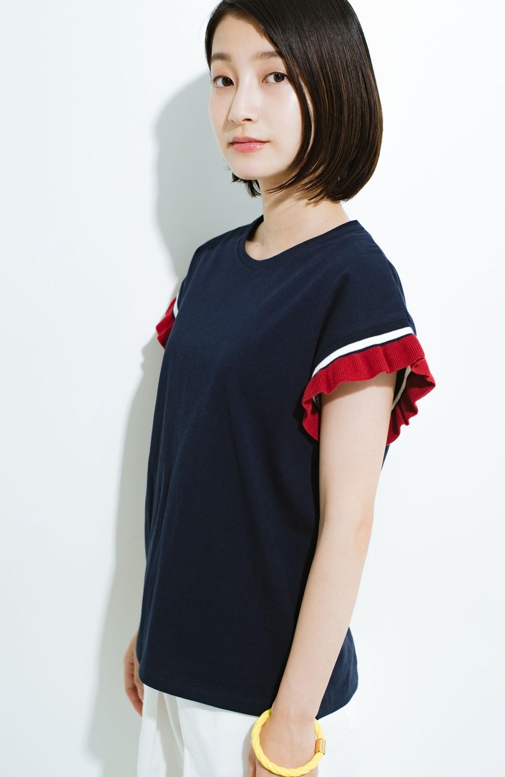haco! Tシャツよりちょっと華やか気分の配色フリルトップス <ネイビー>の商品写真1