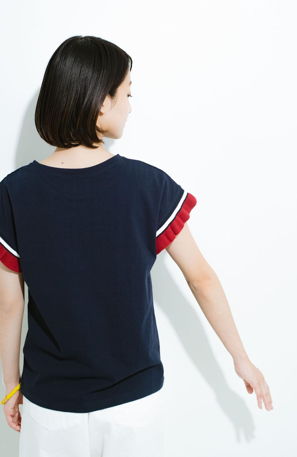 haco! Tシャツよりちょっと華やか気分の配色フリルトップス <ネイビー>の商品写真8