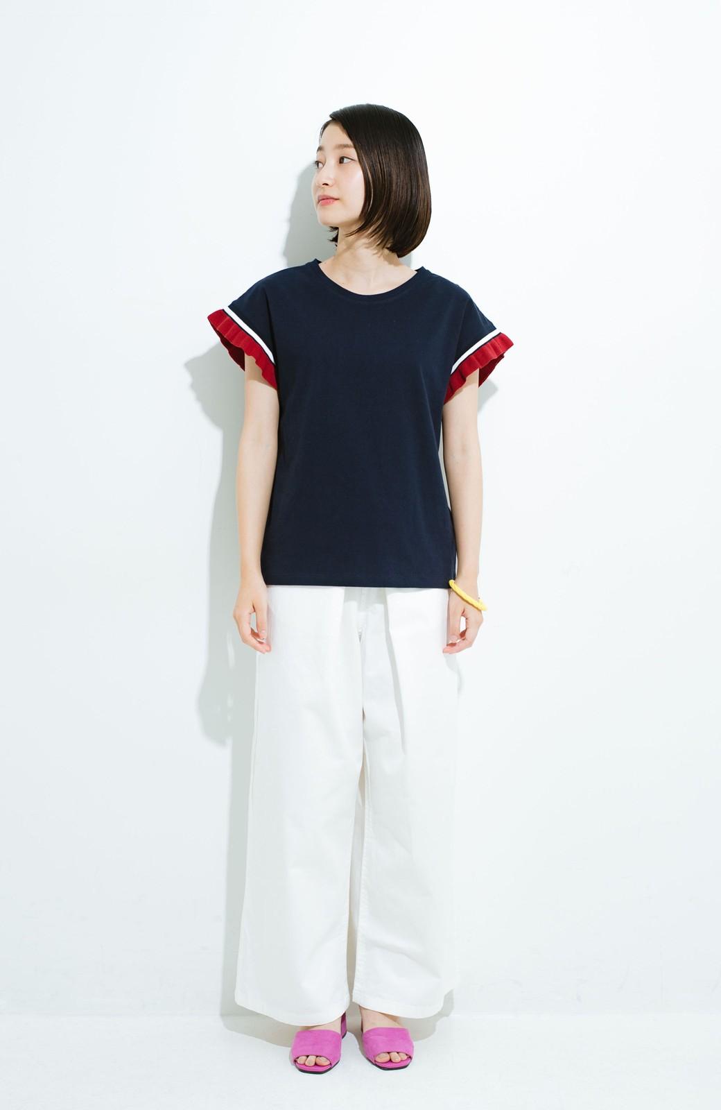 haco! Tシャツよりちょっと華やか気分の配色フリルトップス <ネイビー>の商品写真4
