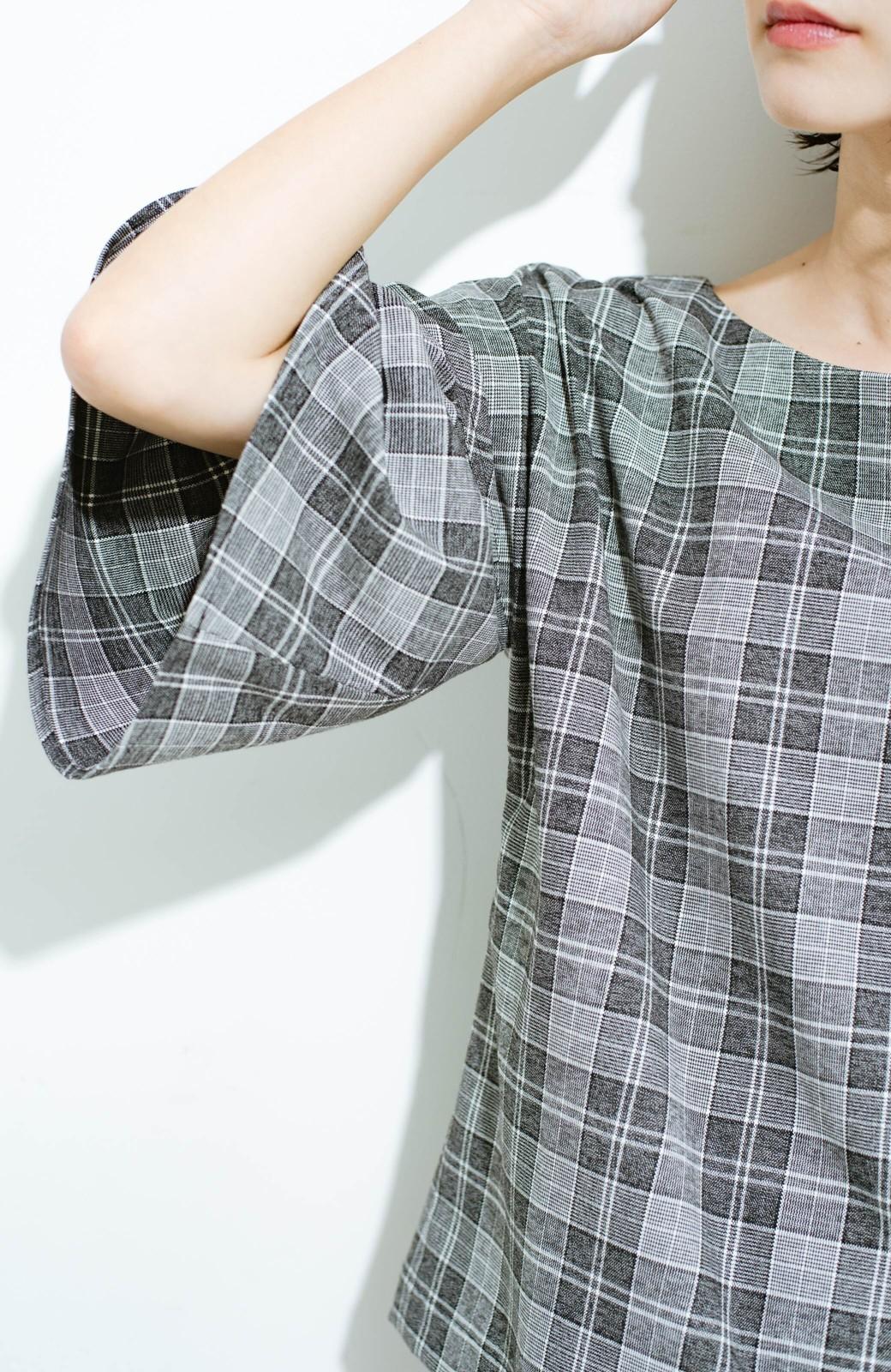 haco! パッと着てきれいな フレアースリーブTブラウス <ブラック系その他>の商品写真3