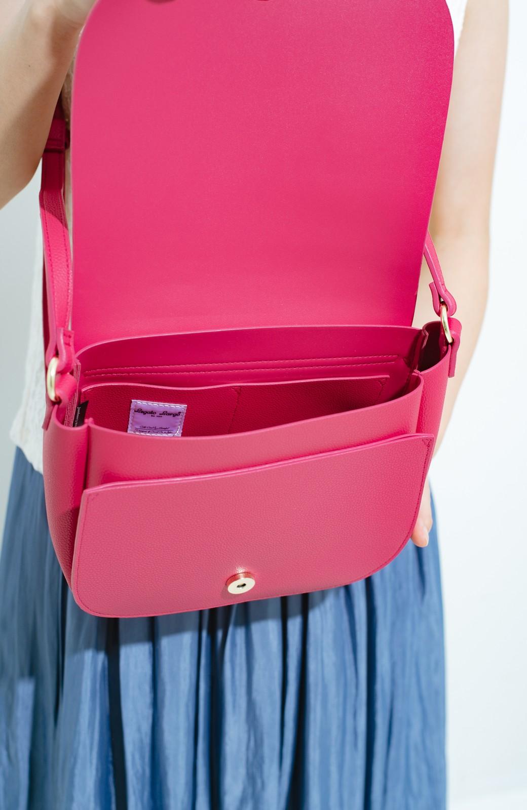haco! ボンディンググレインフェイクレザー多収納ショルダーバッグ <ピンク>の商品写真4