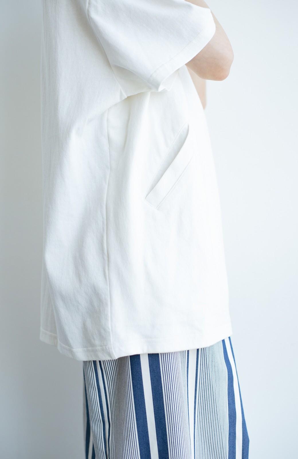 haco! 女の子バンザイ!プロジェクト 【ブルー期】PBPオーガニックコットンのおなかポケット付きTシャツ <ホワイト>の商品写真4
