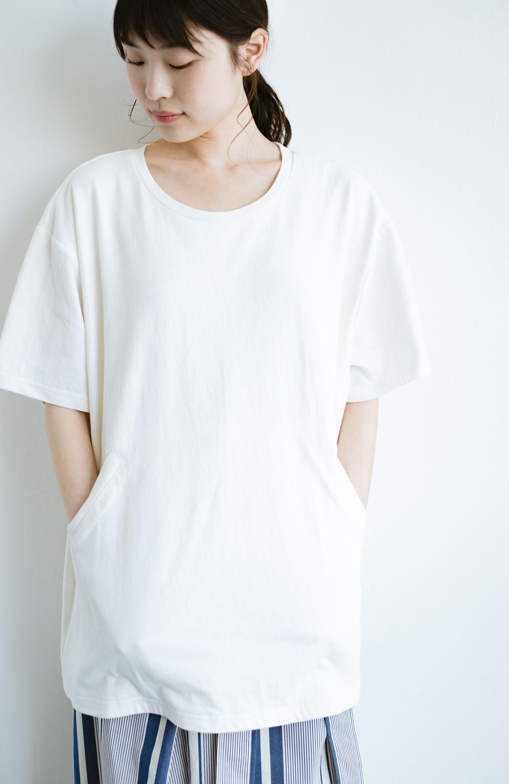 haco! 女の子バンザイ!プロジェクト 【ブルー期】PBPオーガニックコットンのおなかポケット付きTシャツ <ホワイト>の商品写真10