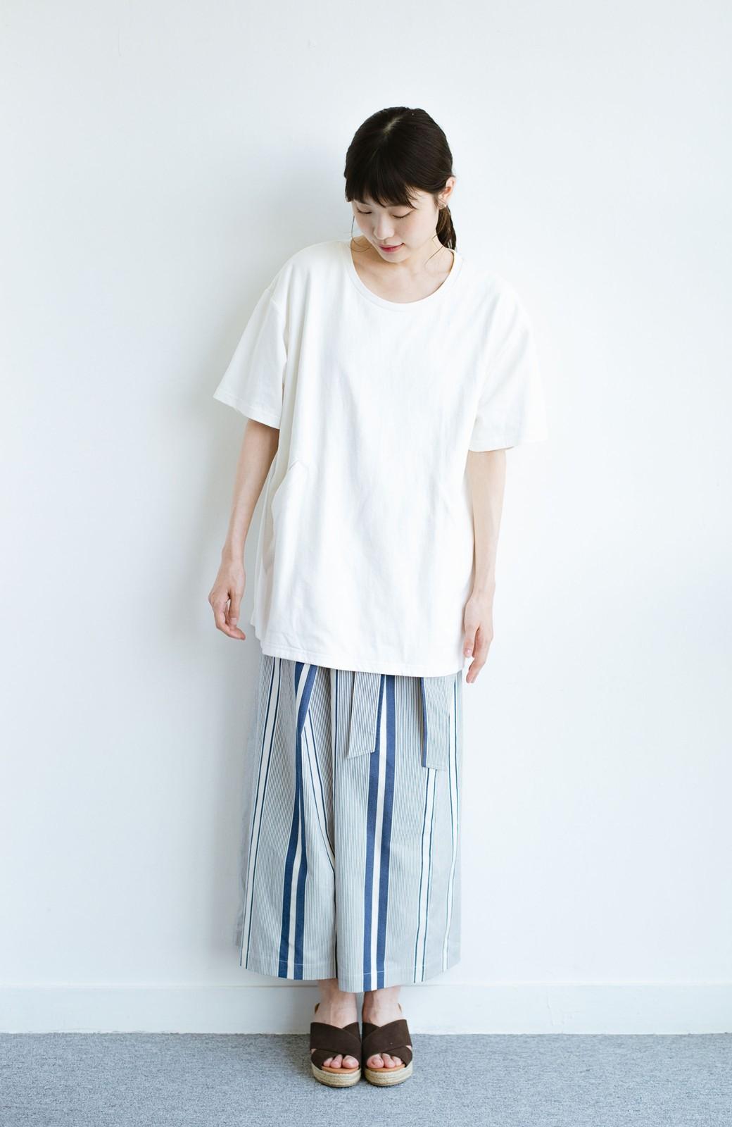 haco! 女の子バンザイ!プロジェクト 【ブルー期】PBPオーガニックコットンのおなかポケット付きTシャツ <ホワイト>の商品写真7