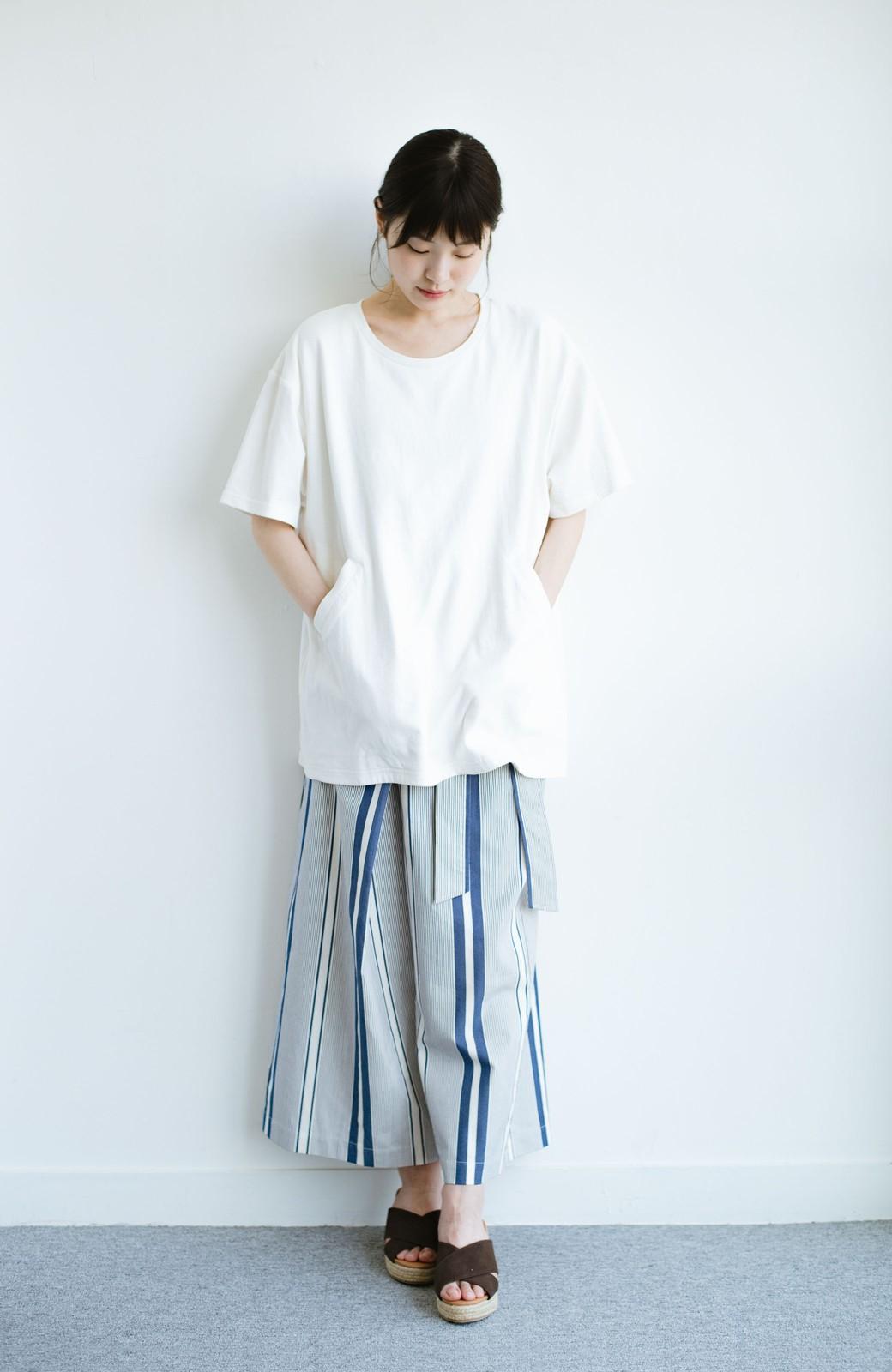 haco! 女の子バンザイ!プロジェクト 【ブルー期】PBPオーガニックコットンのおなかポケット付きTシャツ <ホワイト>の商品写真8