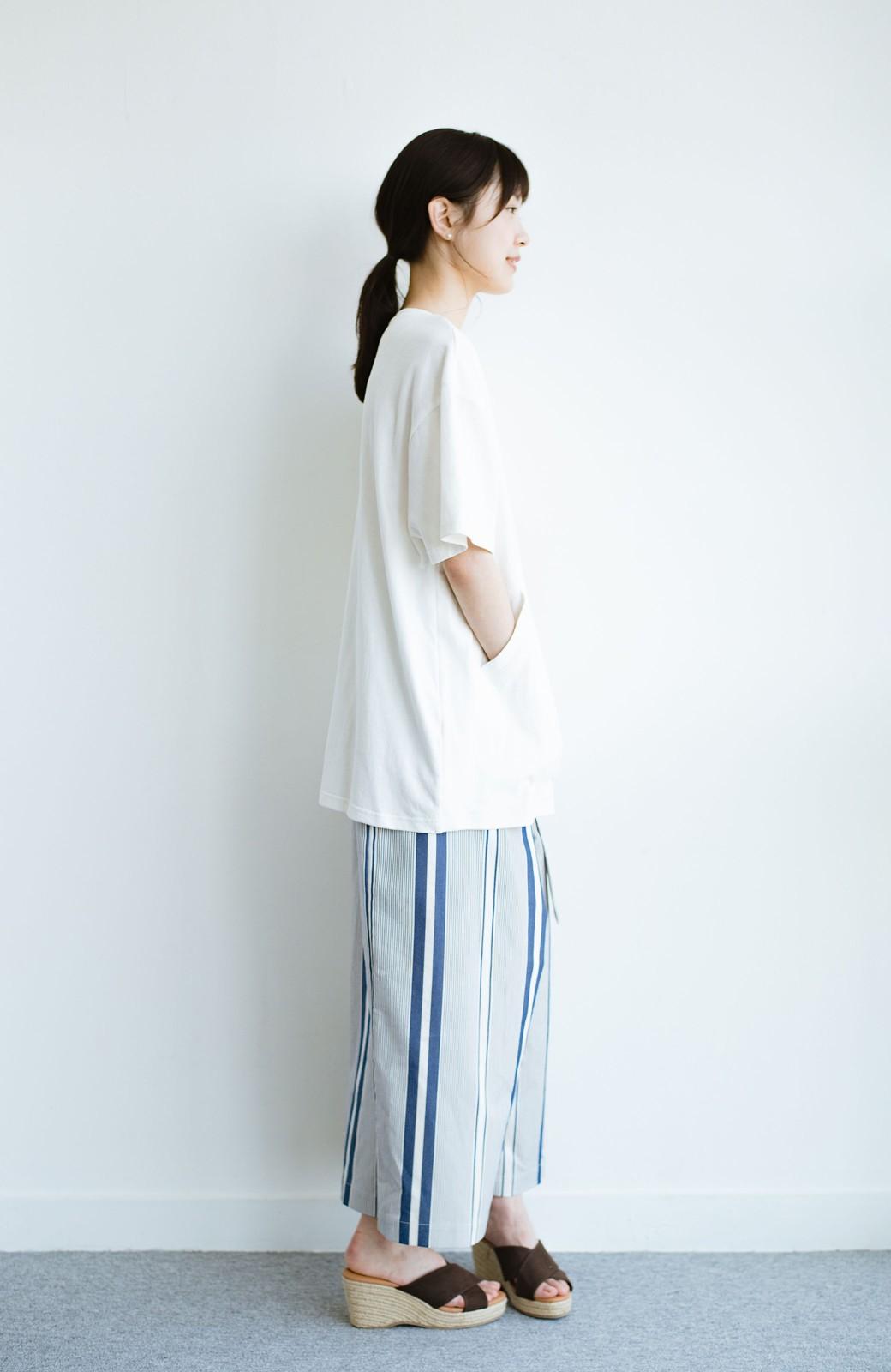haco! 女の子バンザイ!プロジェクト 【ブルー期】PBPオーガニックコットンのおなかポケット付きTシャツ <ホワイト>の商品写真9