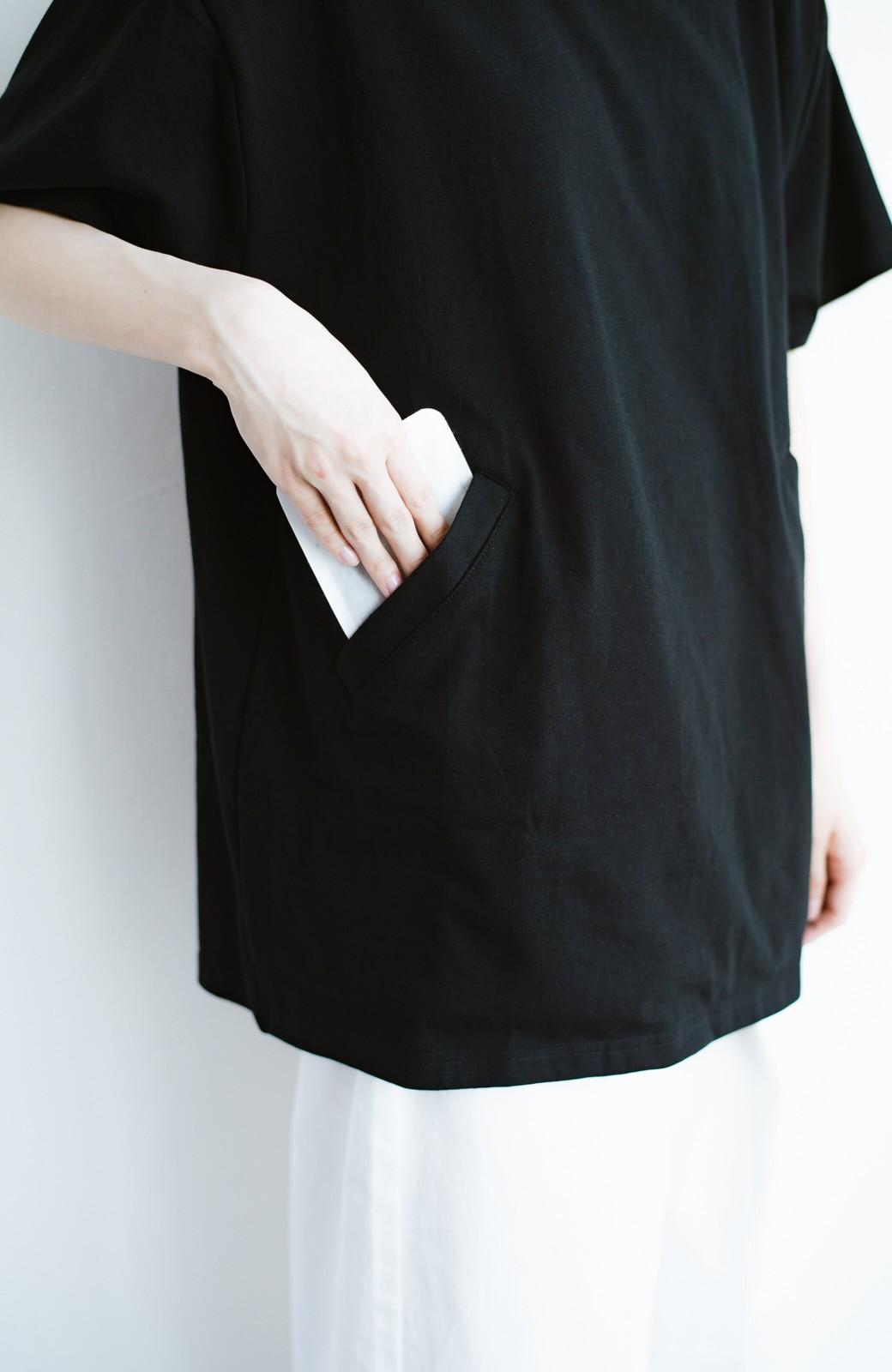 haco! 女の子バンザイ!プロジェクト 【ブルー期】PBPオーガニックコットンのおなかポケット付きTシャツ <ブラック>の商品写真6