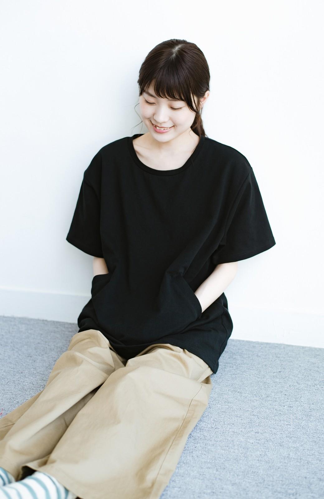 haco! 女の子バンザイ!プロジェクト 【ブルー期】PBPオーガニックコットンのおなかポケット付きTシャツ <ブラック>の商品写真3