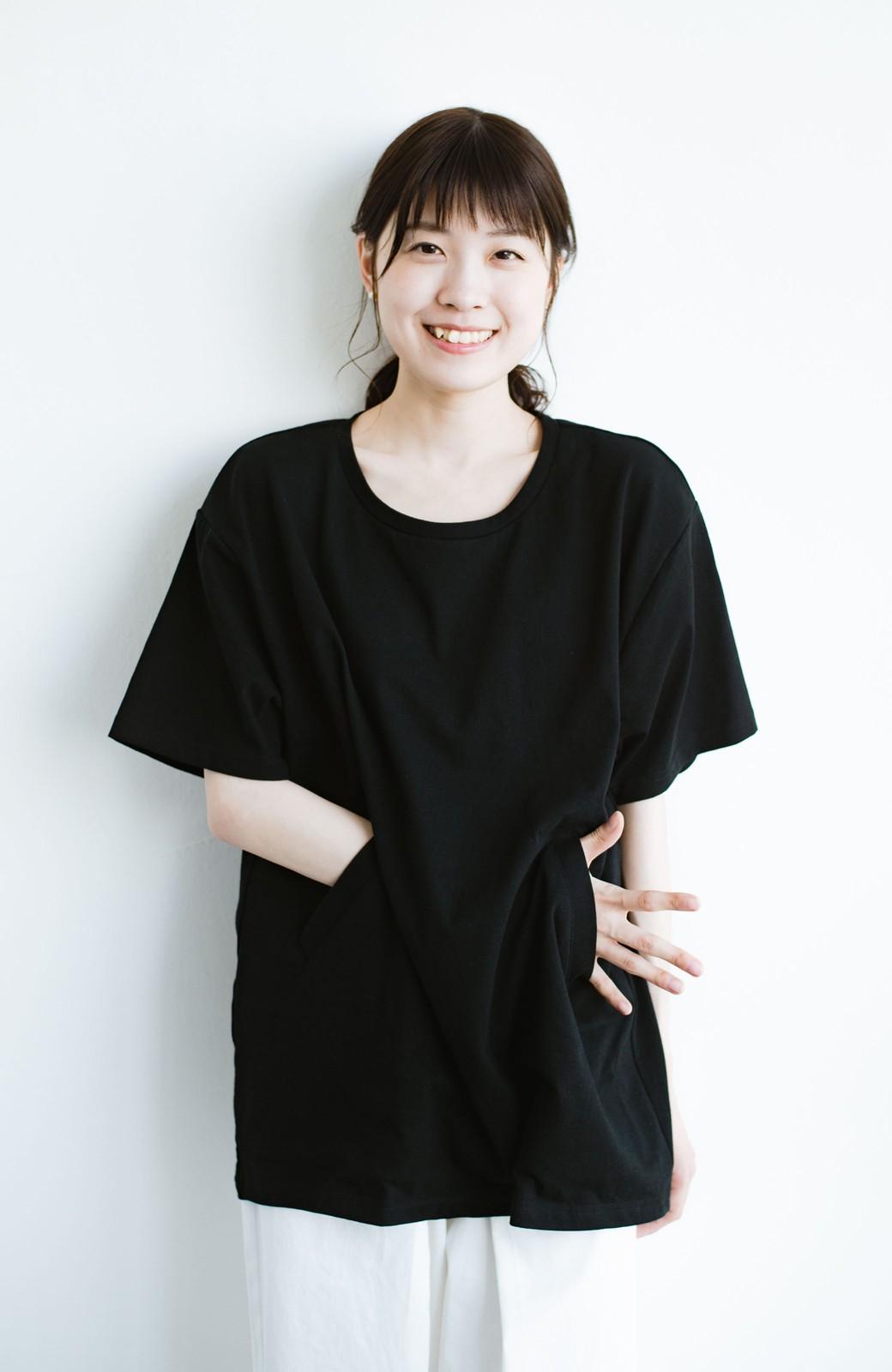 haco! 女の子バンザイ!プロジェクト 【ブルー期】PBPオーガニックコットンのおなかポケット付きTシャツ <ブラック>の商品写真11