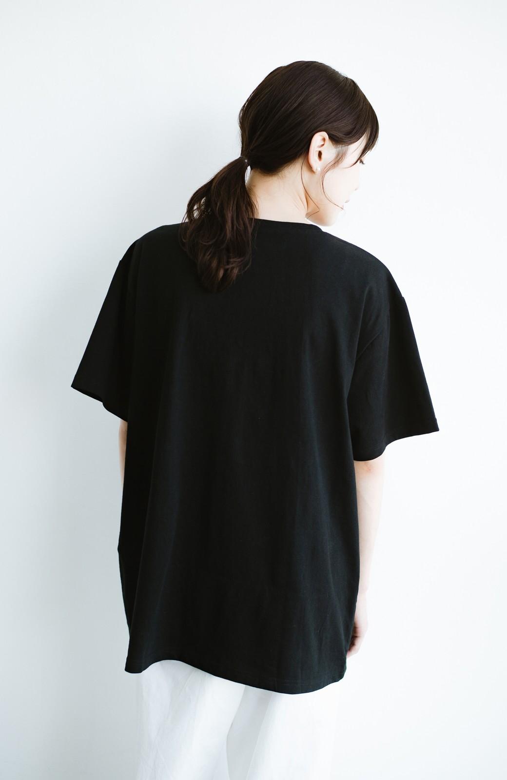 haco! 女の子バンザイ!プロジェクト 【ブルー期】PBPオーガニックコットンのおなかポケット付きTシャツ <ブラック>の商品写真13