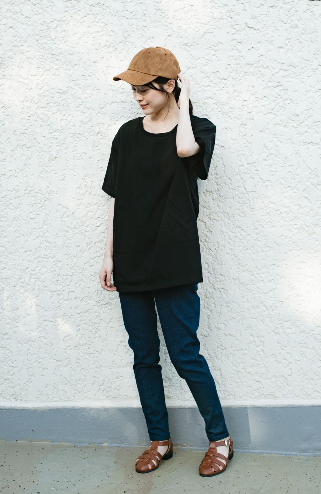 haco! 女の子バンザイ!プロジェクト 【ブルー期】PBPオーガニックコットンのおなかポケット付きTシャツ <ブラック>の商品写真14