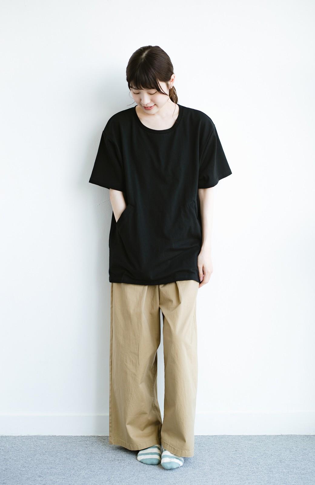 haco! 女の子バンザイ!プロジェクト 【ブルー期】PBPオーガニックコットンのおなかポケット付きTシャツ <ブラック>の商品写真7