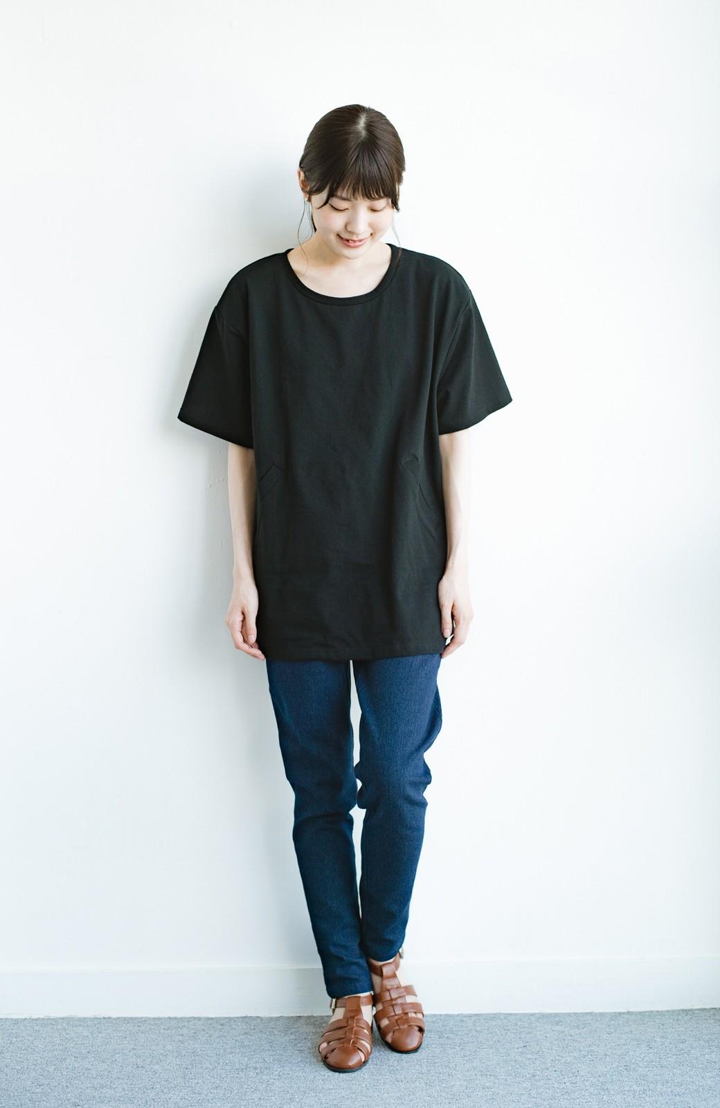 haco! 女の子バンザイ!プロジェクト 【ブルー期】PBPオーガニックコットンのおなかポケット付きTシャツ <ブラック>の商品写真8