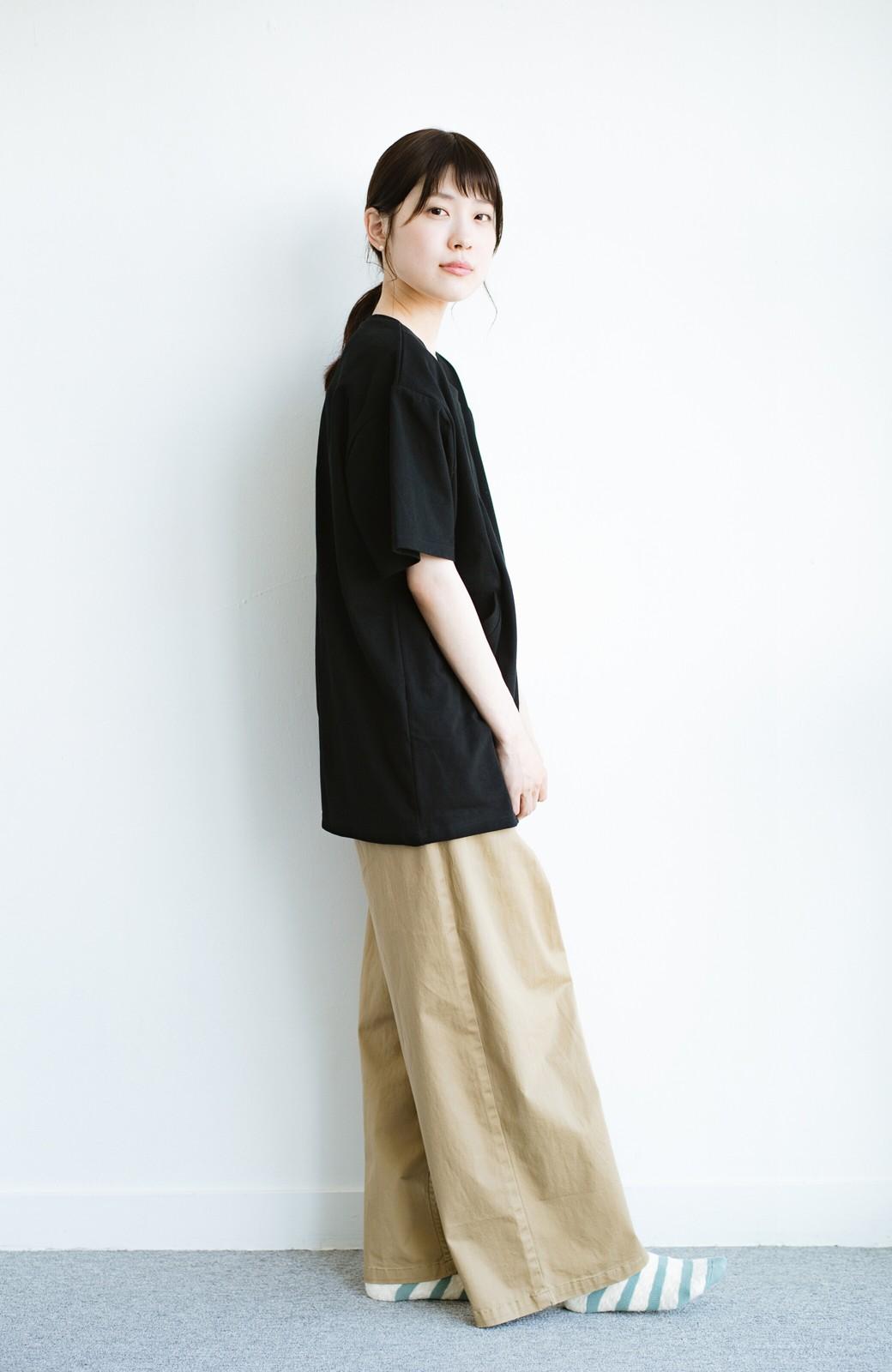haco! 女の子バンザイ!プロジェクト 【ブルー期】PBPオーガニックコットンのおなかポケット付きTシャツ <ブラック>の商品写真9