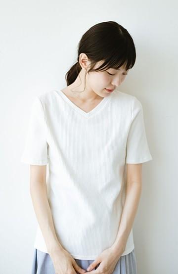 haco! 女の子バンザイ!プロジェクト【キラキラ期】ここぞ!とばかりに華奢見せ女っぽTシャツ <ホワイト>の商品写真