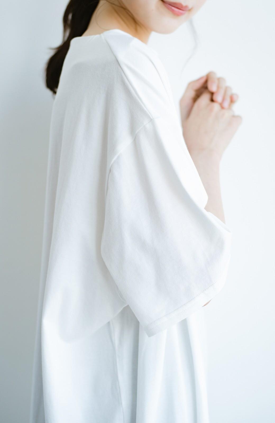 haco! 女の子バンザイ!プロジェクト【まったり期~もやもや期】PBPオーガニックコットンのとにかく動きやすくてラクチンなTシャツワンピース&レギンスセット <ホワイト>の商品写真7