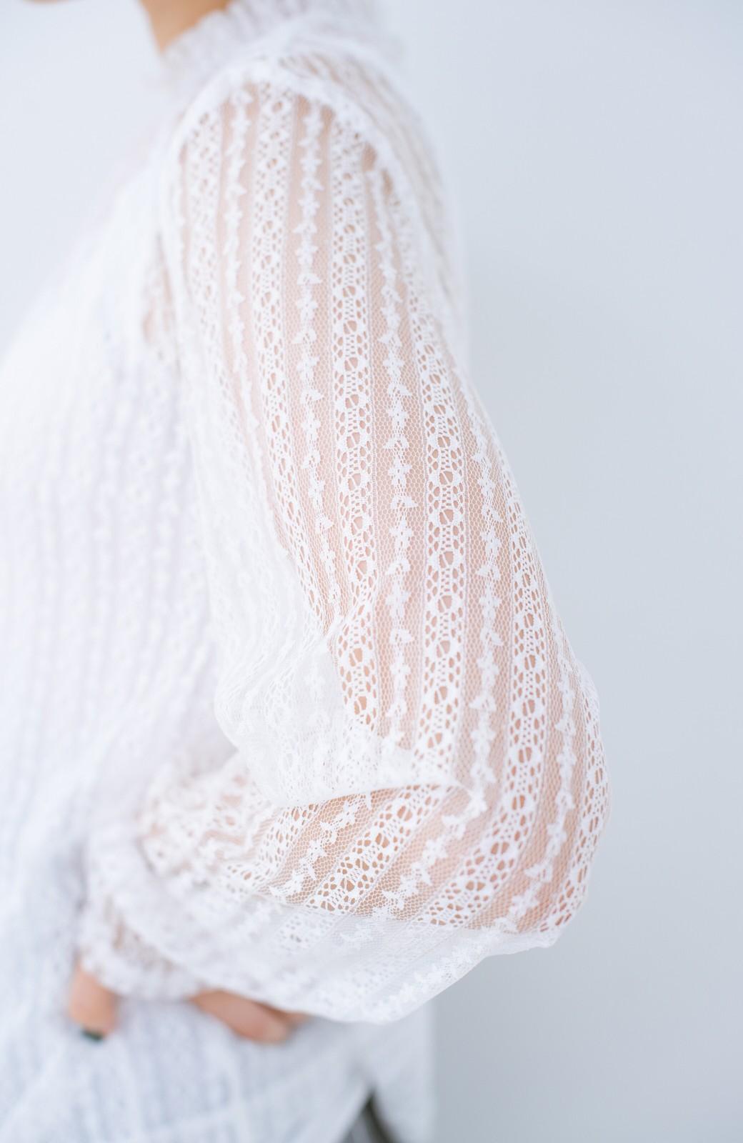 haco! 重ね着にも便利な伸びる女っぽレーストップス <ホワイト>の商品写真4