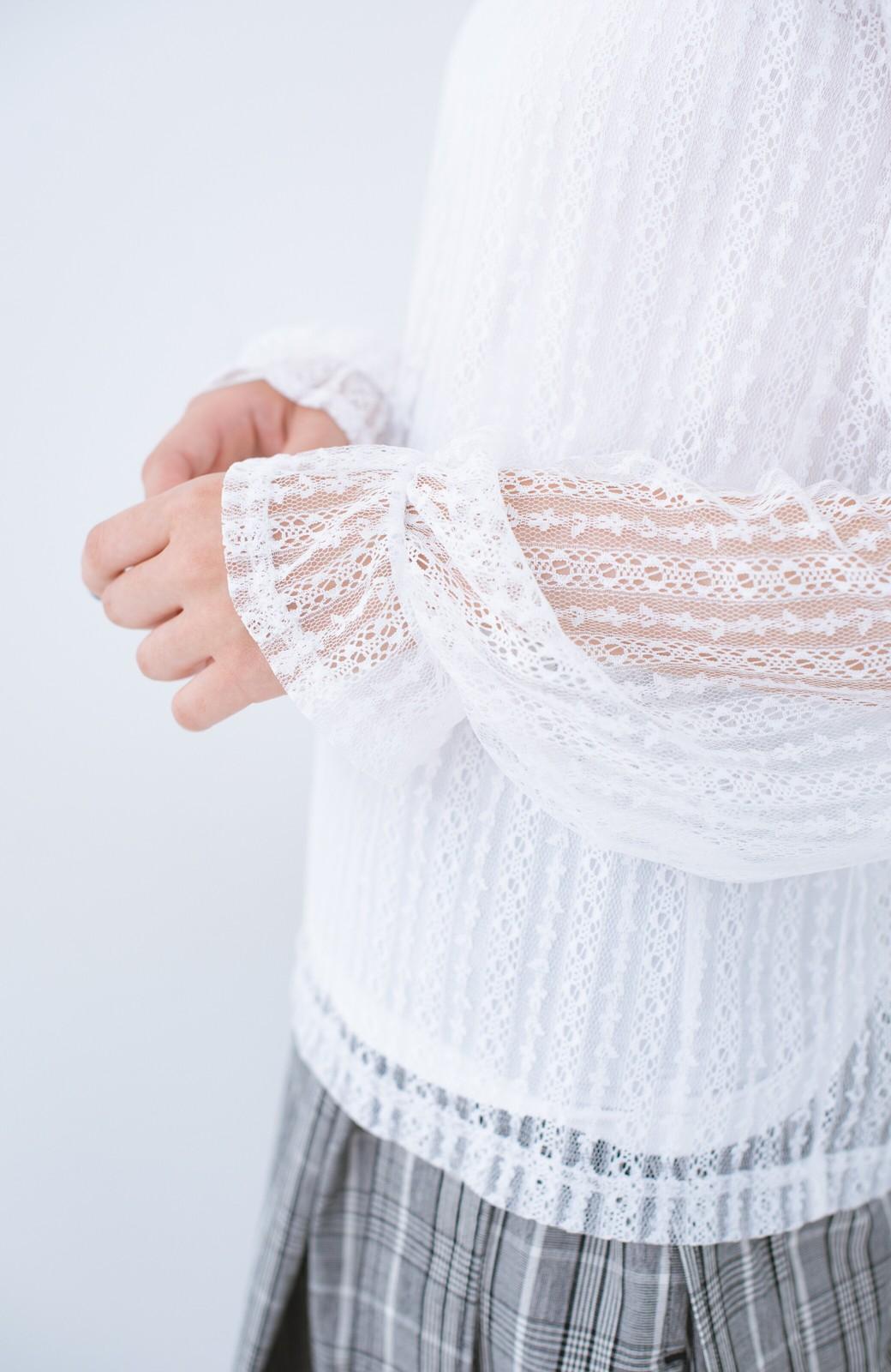 haco! 重ね着にも便利な伸びる女っぽレーストップス <ホワイト>の商品写真5