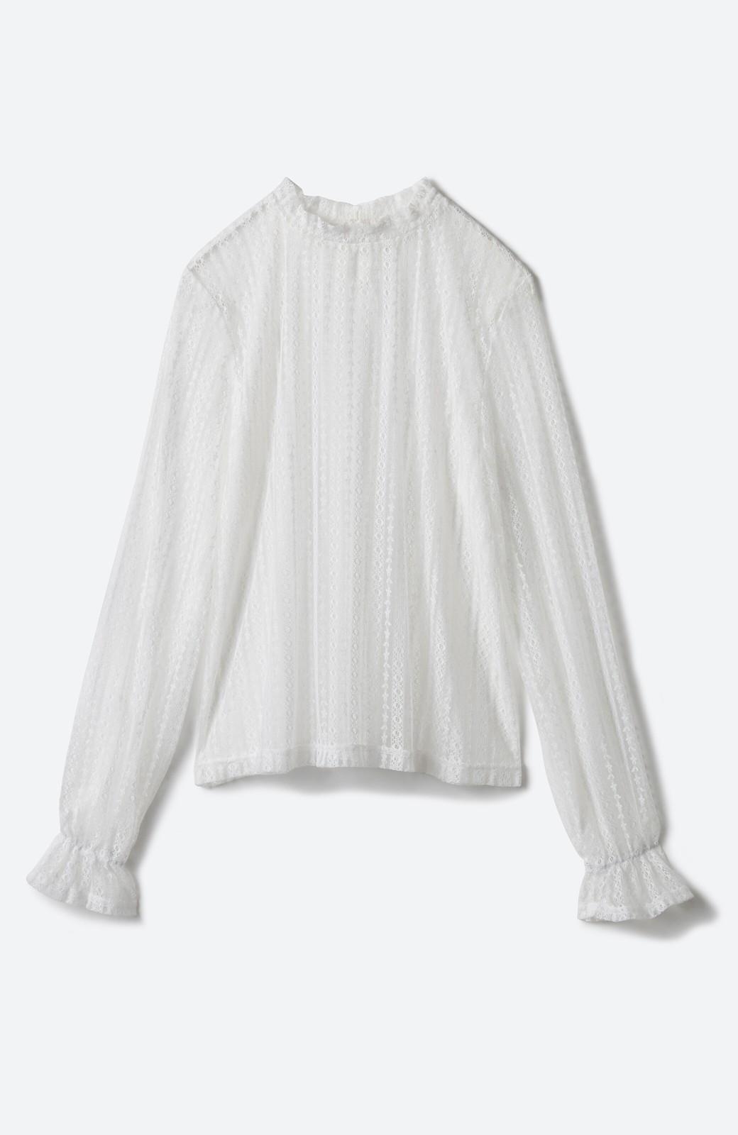 haco! 重ね着にも便利な伸びる女っぽレーストップス <ホワイト>の商品写真2