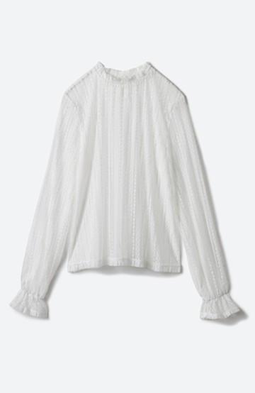 haco! 重ね着にも便利な伸びる女っぽレーストップス <ホワイト>の商品写真