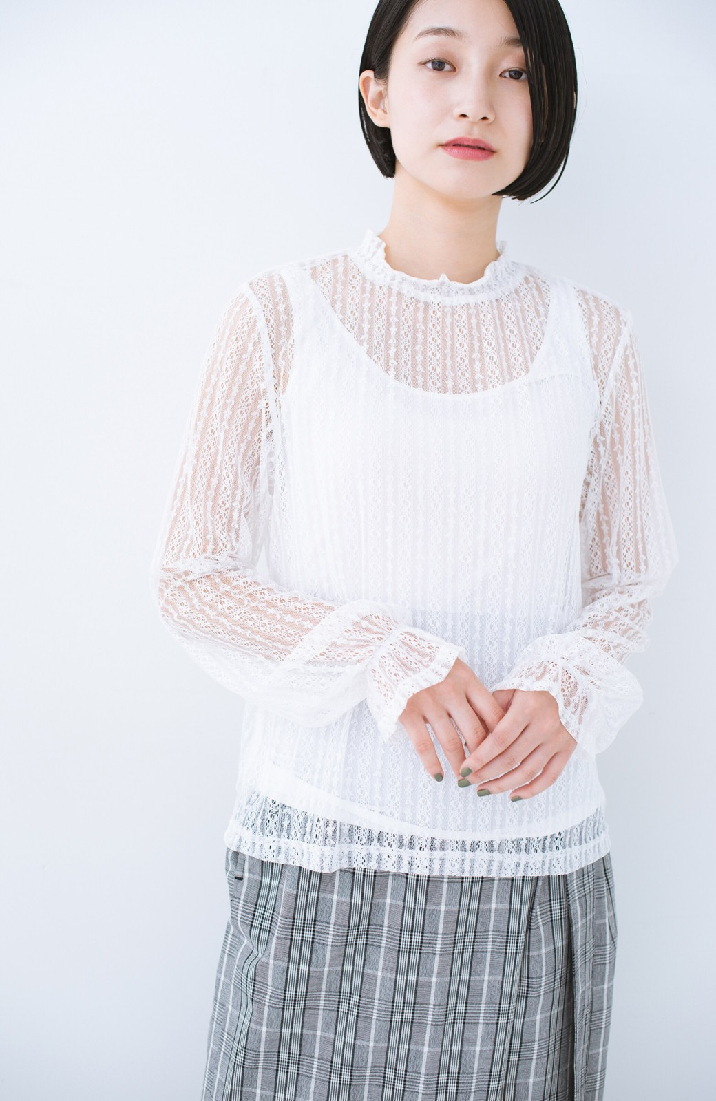 haco! 重ね着にも便利な伸びる女っぽレーストップス <ホワイト>の商品写真11
