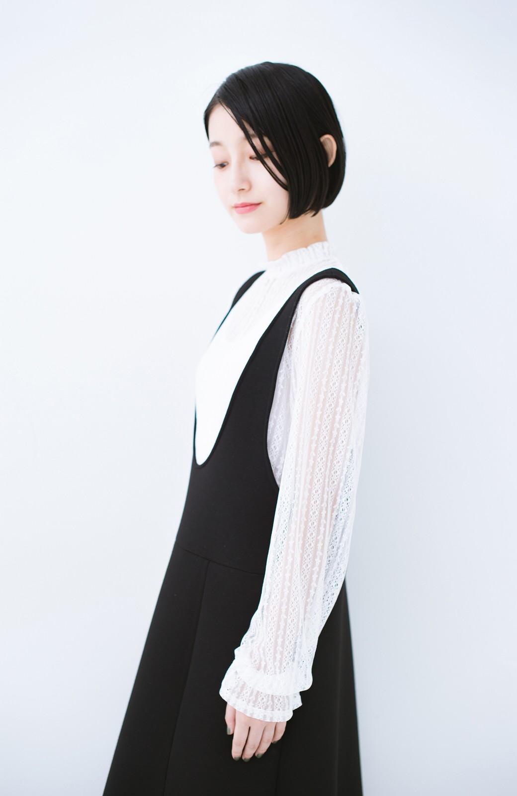 haco! 重ね着にも便利な伸びる女っぽレーストップス <ホワイト>の商品写真15