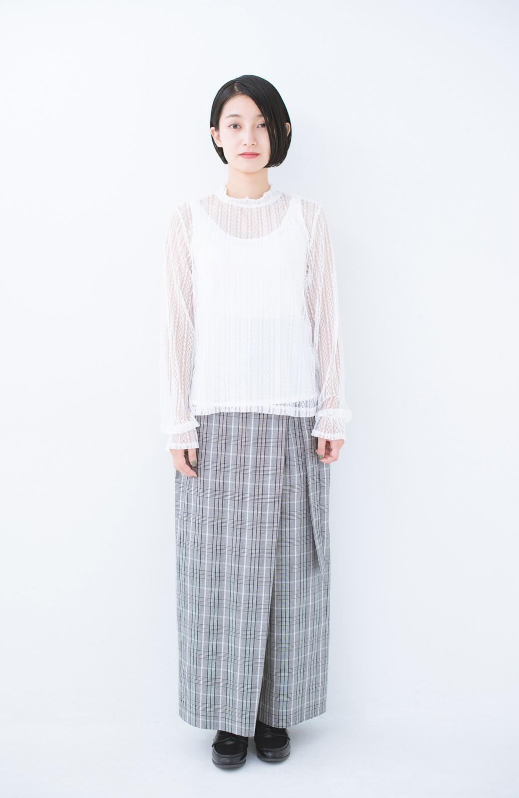 haco! 重ね着にも便利な伸びる女っぽレーストップス <ホワイト>の商品写真6
