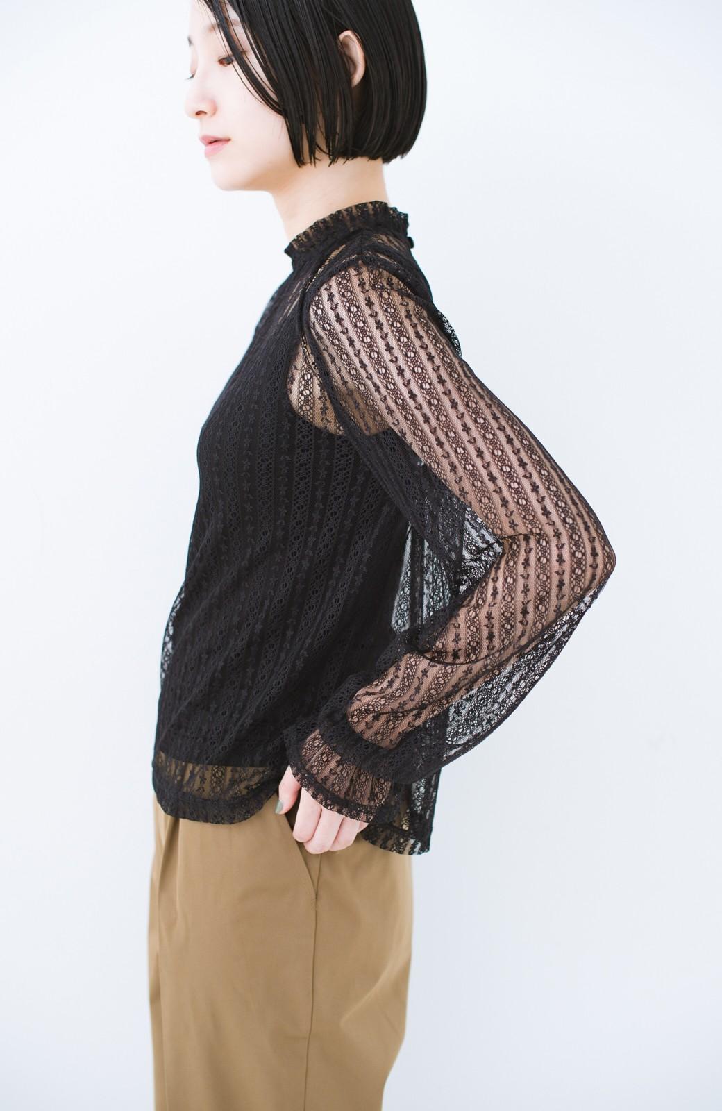 haco! 重ね着にも便利な伸びる女っぽレーストップス <ブラック>の商品写真11