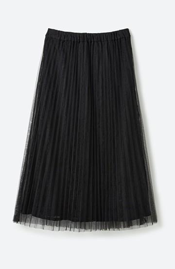 haco! 楽していることがばれない プリーツチュール&レースのスカート <ブラック>の商品写真