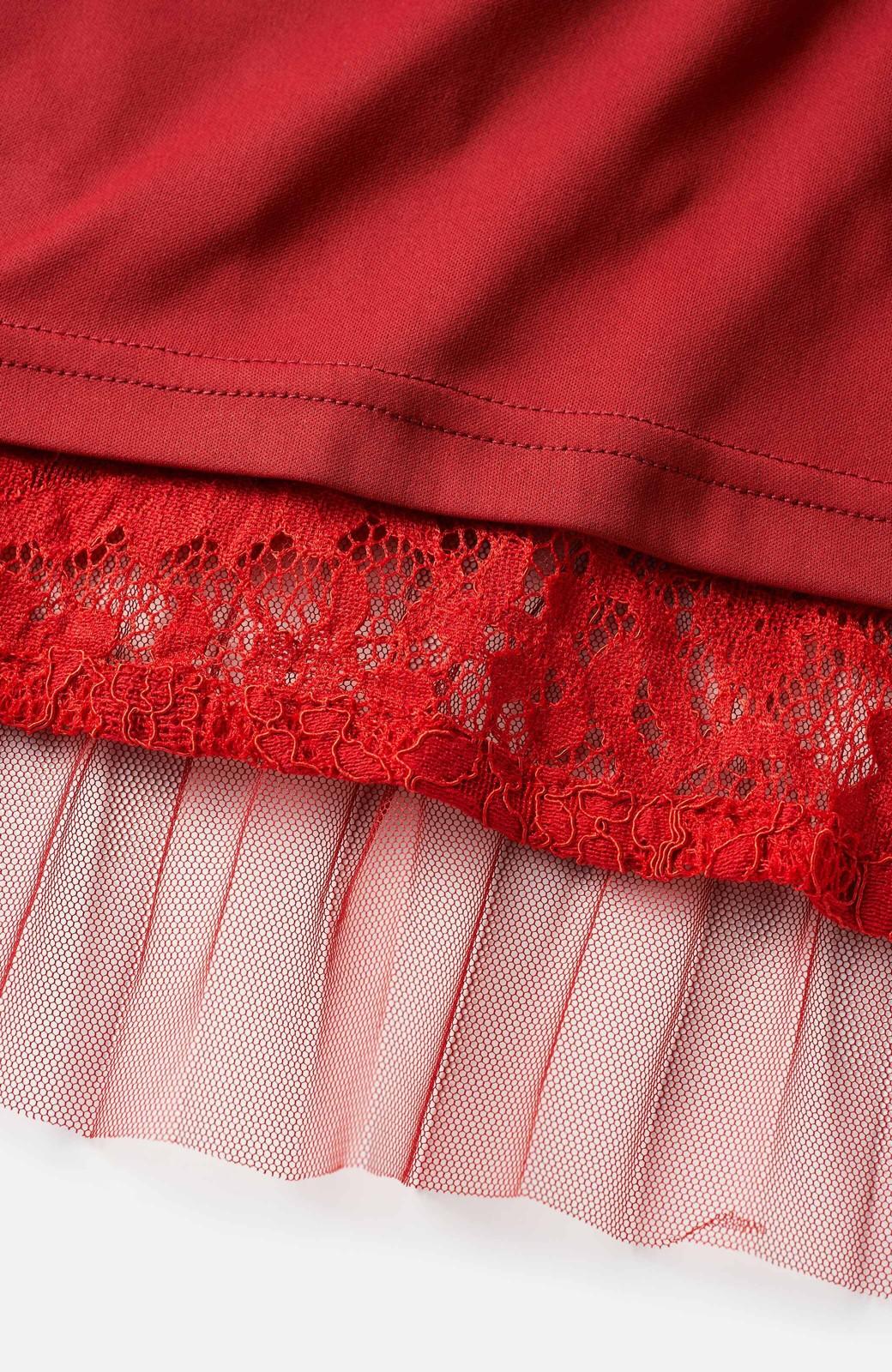 haco! 楽していることがばれない プリーツチュール&レースのスカート <レッド>の商品写真3