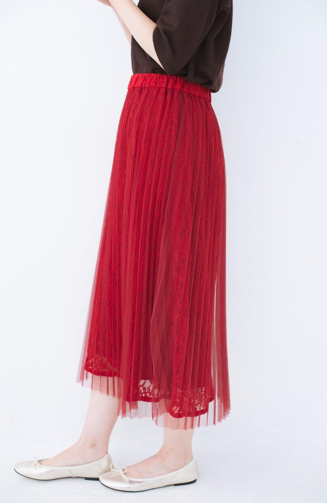 haco! 楽していることがばれない プリーツチュール&レースのスカート <レッド>の商品写真1