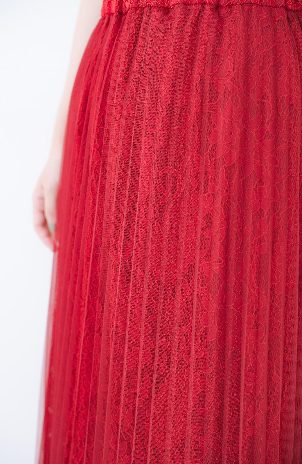 haco! 楽していることがばれない プリーツチュール&レースのスカート <レッド>の商品写真8