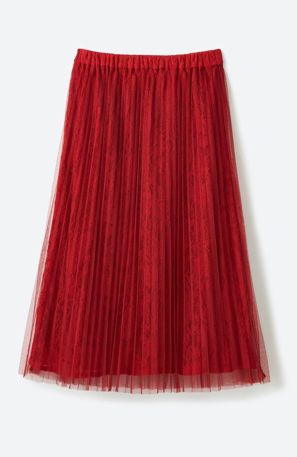 haco! 楽していることがばれない プリーツチュール&レースのスカート <レッド>の商品写真2