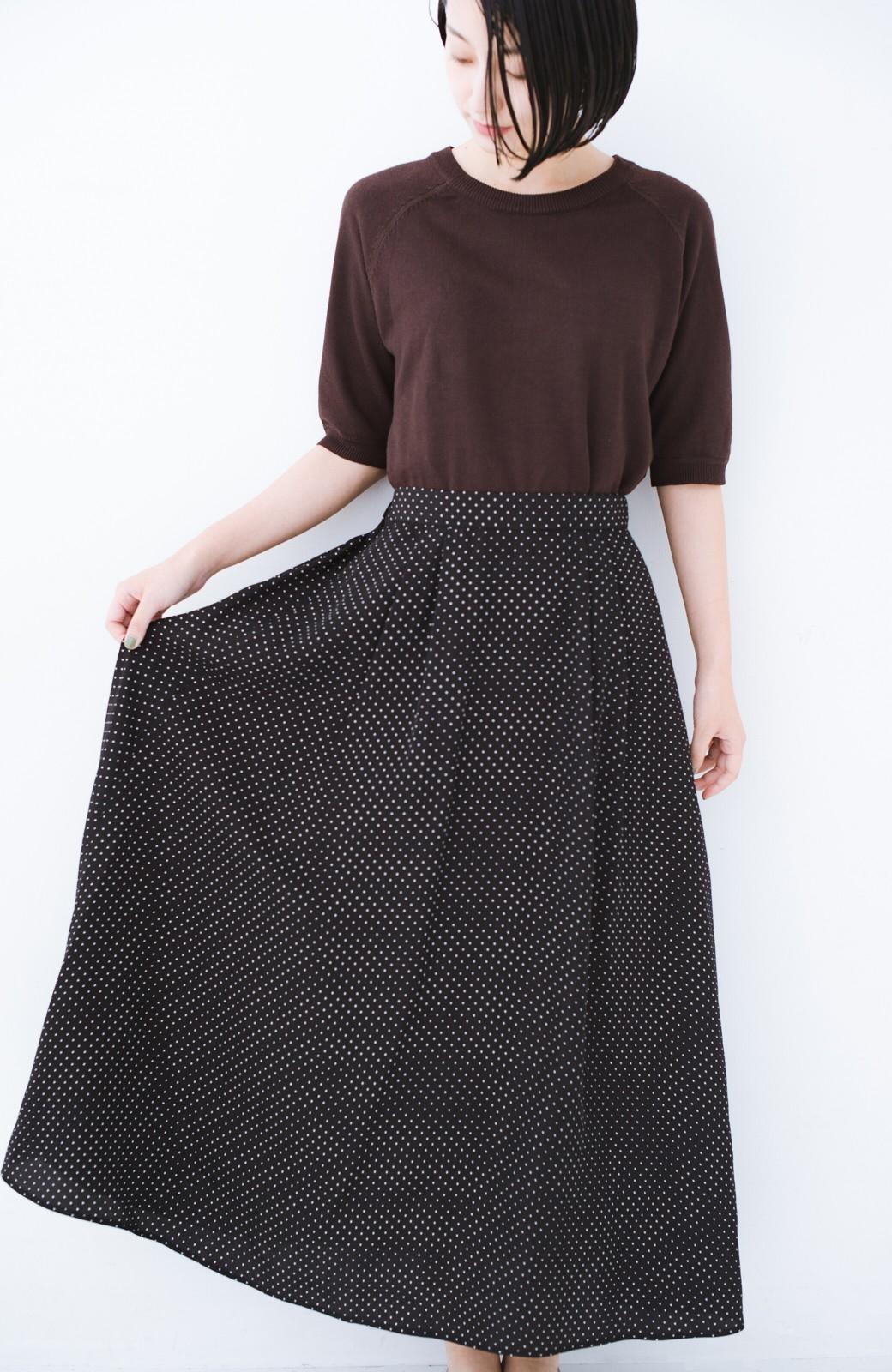 haco! ずっと着られる大人のドットロングスカート by que made me <ブラック系その他>の商品写真11