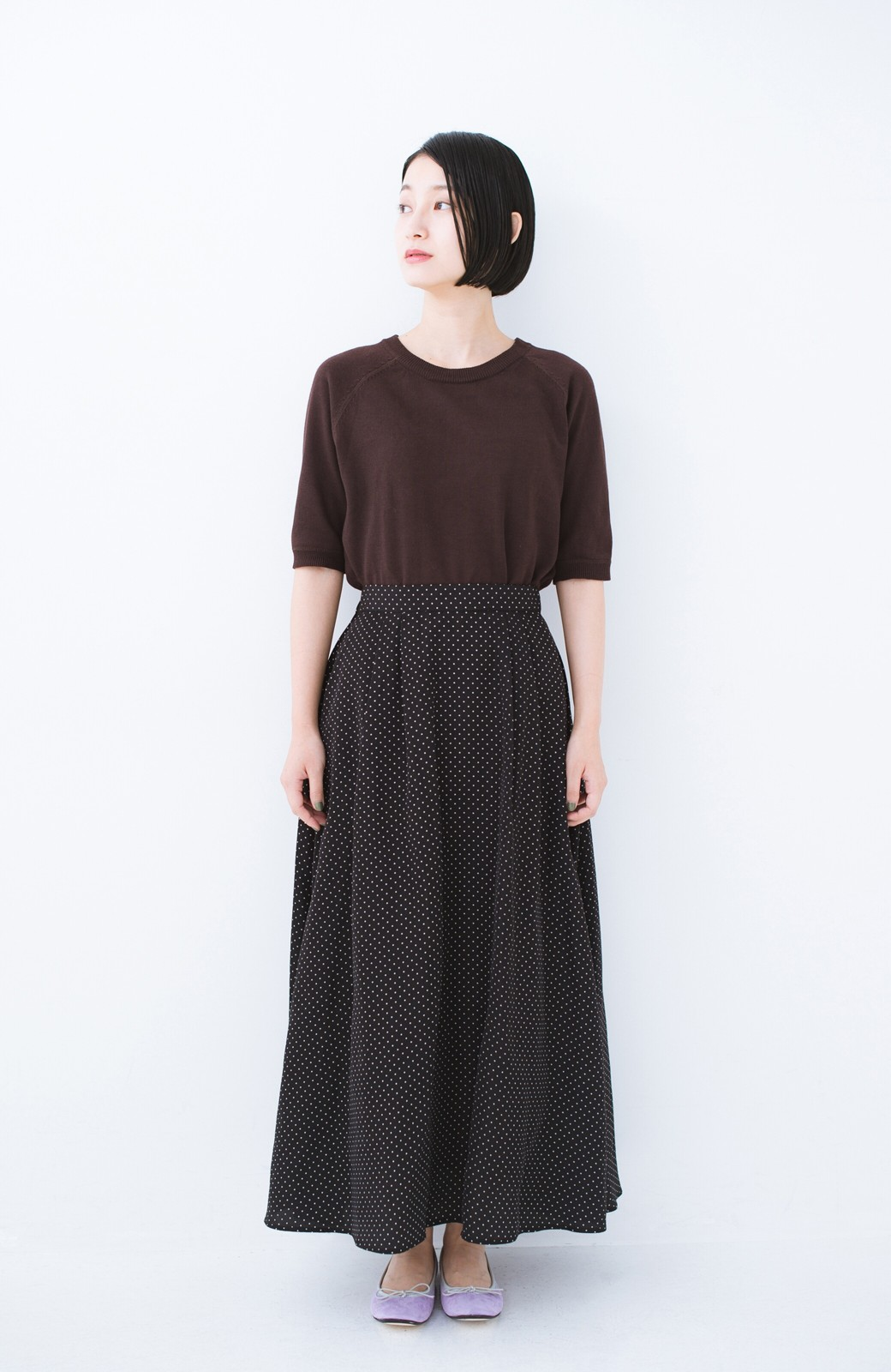 haco! ずっと着られる大人のドットロングスカート by que made me <ブラック系その他>の商品写真6