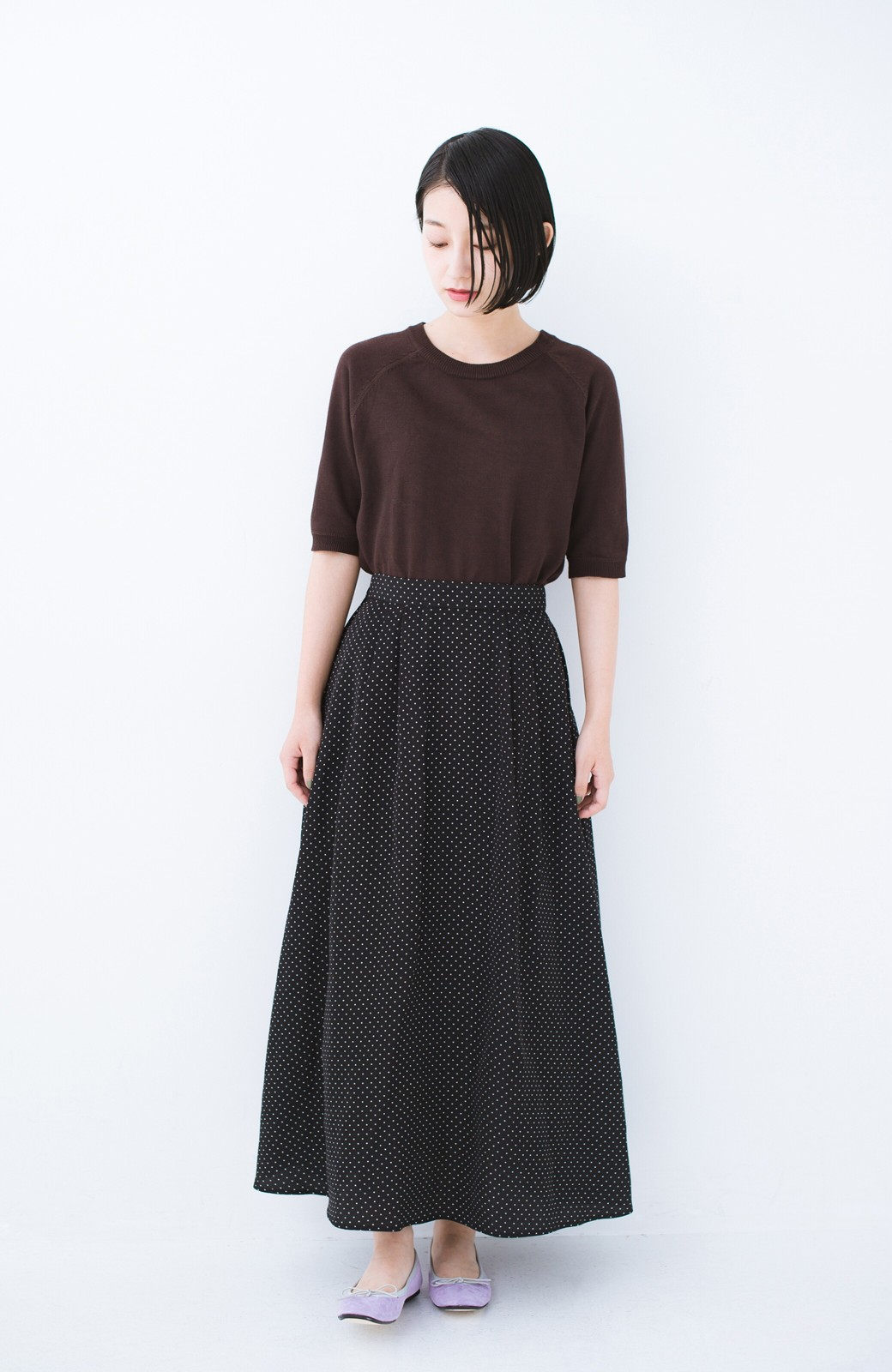 haco! ずっと着られる大人のドットロングスカート by que made me <ブラック系その他>の商品写真7