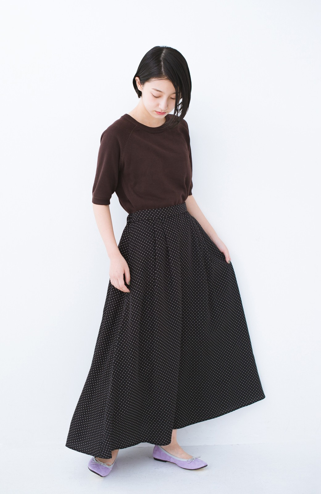 haco! ずっと着られる大人のドットロングスカート by que made me <ブラック系その他>の商品写真8
